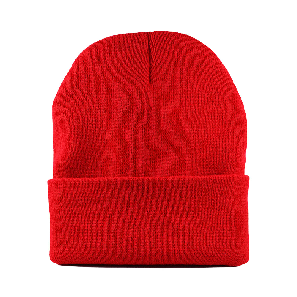 Cuffed knit beanies are longer and are usually worn rolled over.