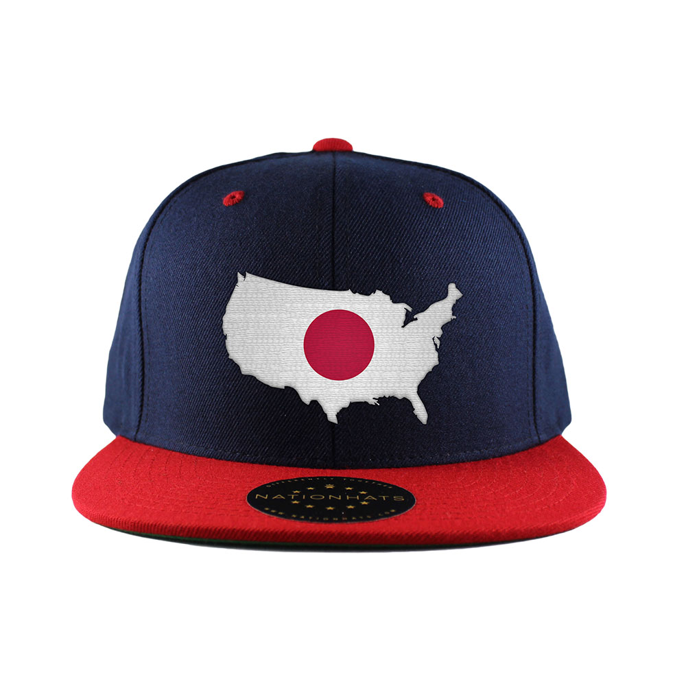 506611ffb5424a Japanese American MapFlag™ | 6-Panel 2-Tone Snapback Cap | Nationhats