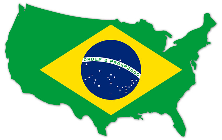 America outline map with the flag of Brazil - MapFlag™
