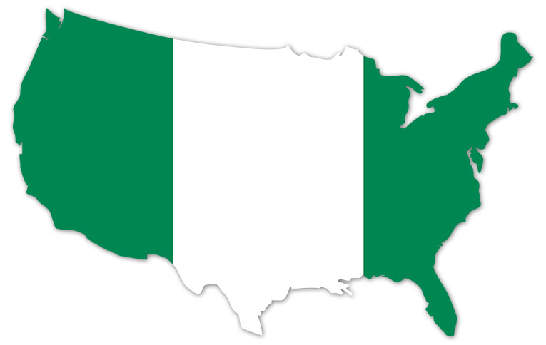 America outline map with the flag of Nigeria - MapFlag™