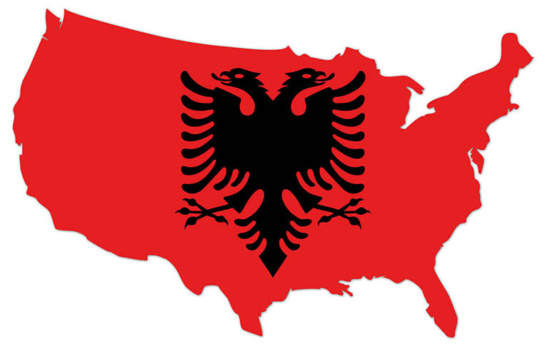 America outline map with the flag of Albania - MapFlag™