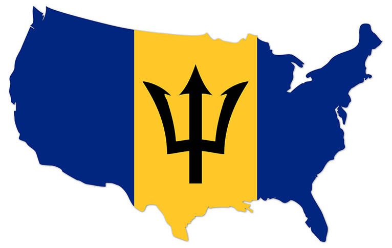 America outline map with the flag of Barbados - MapFlag™