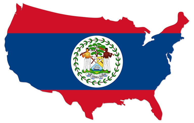America outline map with the flag of Belize - MapFlag™