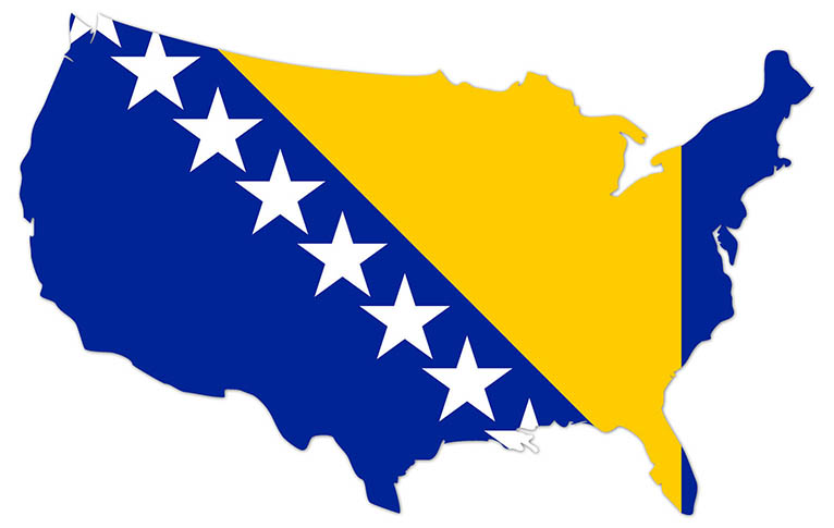 America outline map with the flag of Bosnia and Herzegovina - MapFlag™
