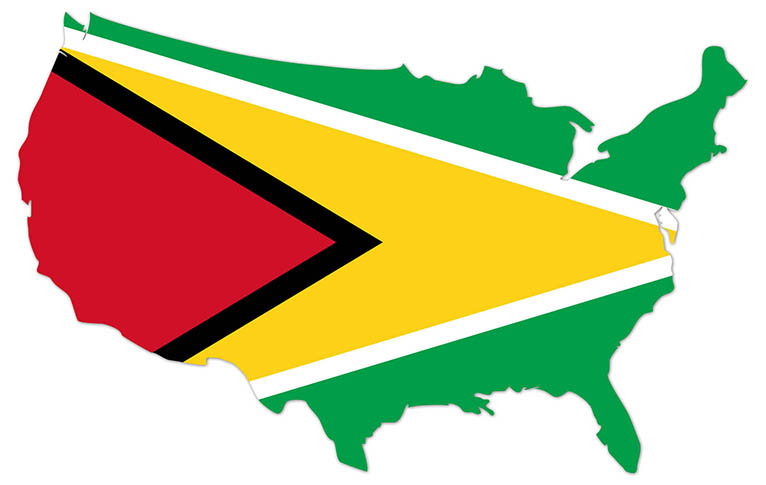 America outline map with the flag of Guyana - MapFlag™