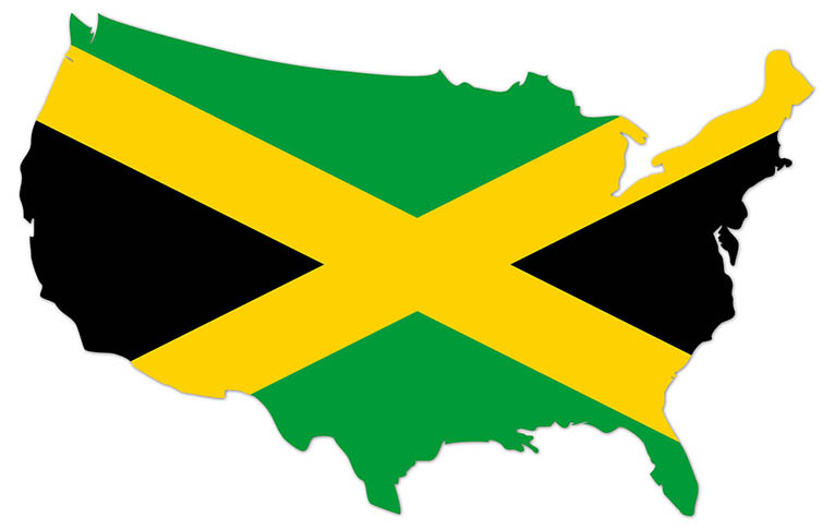 America outline map with the flag of Jamaica - MapFlag™