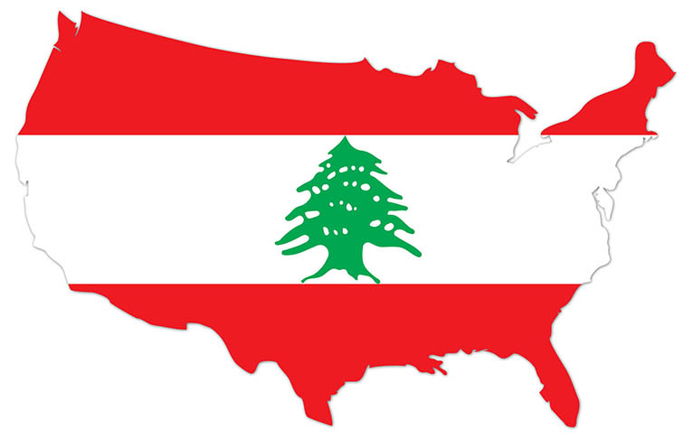 America outline map with the flag of Lebanon - MapFlag™