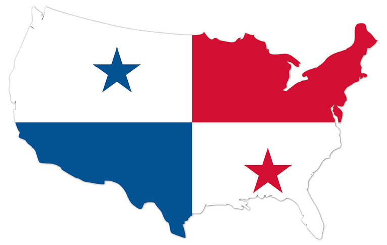 America outline map with the flag of Panama - MapFlag™