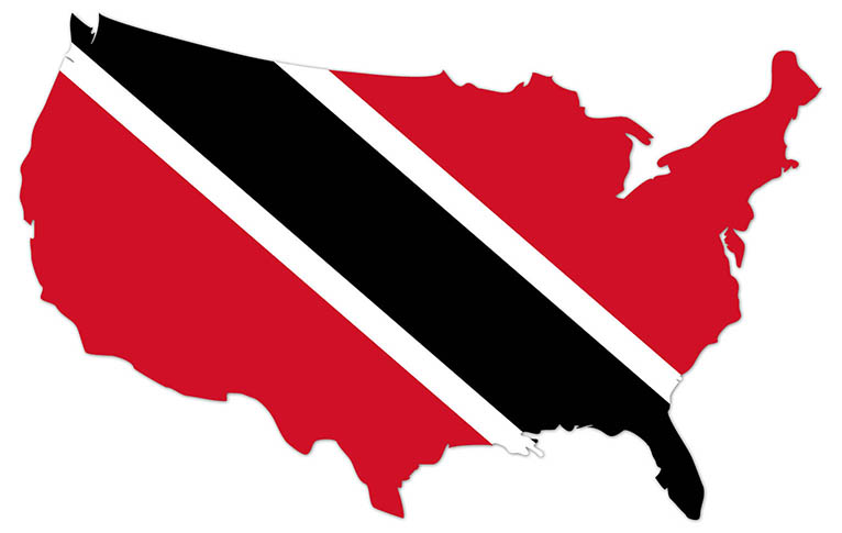 America outline map with the flag of Trinidad and Tobago - MapFlag™