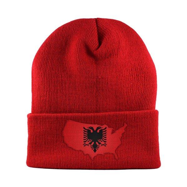 Beanie-Cuffed-Knit-Cap-Mapflag-Albania-USA-Dark-Red