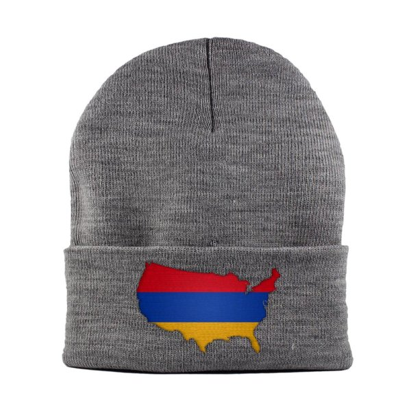 Beanie-Cuffed-Knit-Cap-Mapflag-Armenia-USA-Heather-Grey