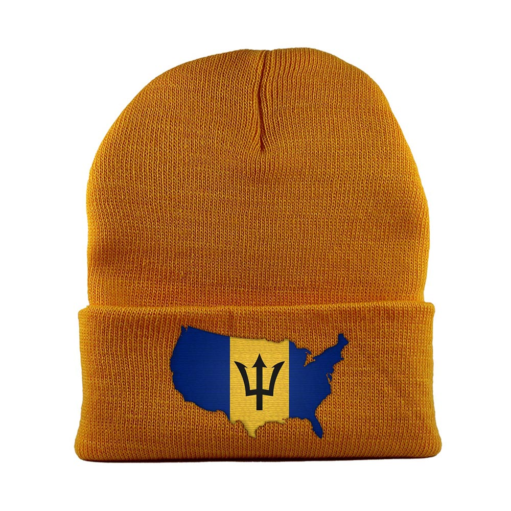 Beanie-Cuffed-Knit-Cap-Mapflag-Barbados-USA-Gold