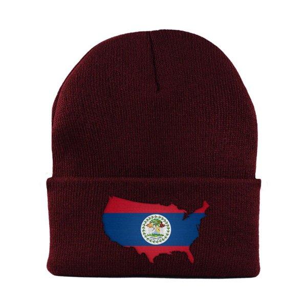 Beanie-Cuffed-Knit-Cap-Mapflag-Belize-USA-Maroon