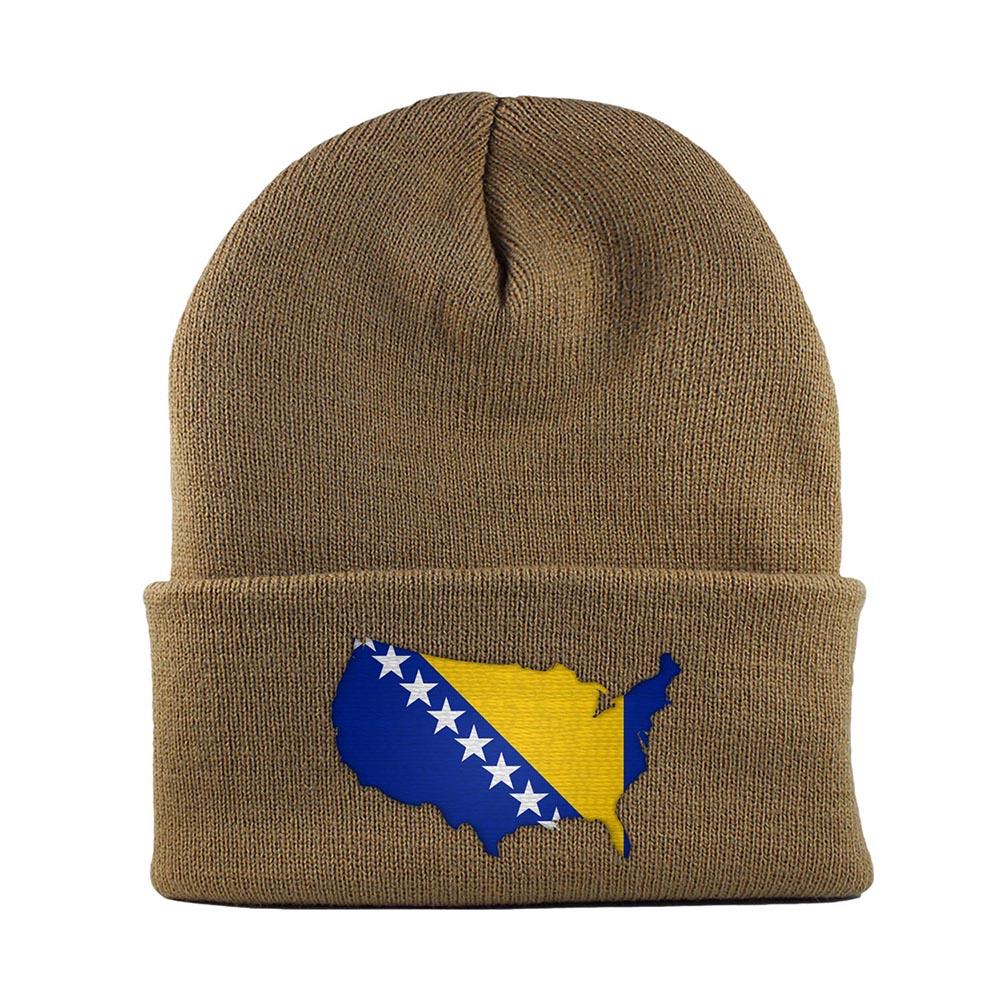 Beanie-Cuffed-Knit-Cap-Mapflag-Bosnia-Herzegovina-USA-Vegas-Gold