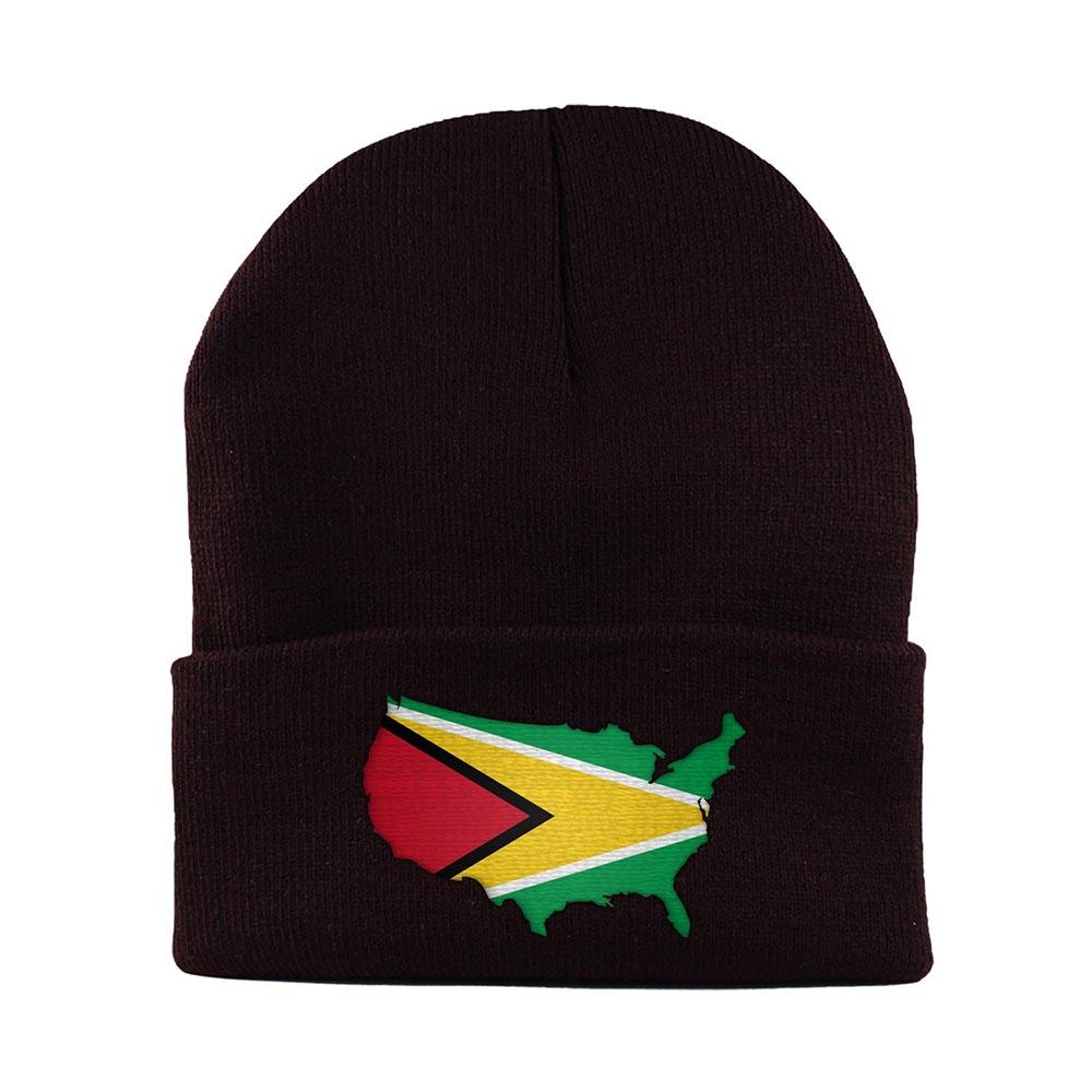 Beanie-Cuffed-Knit-Cap-Mapflag-Guyana-USA-Brown