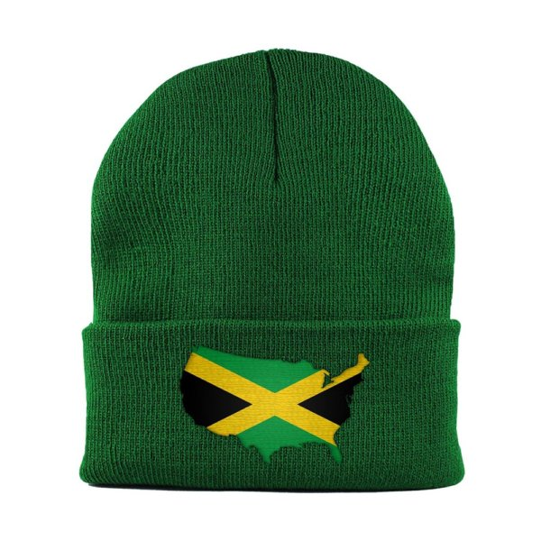 Beanie-Cuffed-Knit-Cap-Mapflag-Jamaica-USA-Kelly-Green