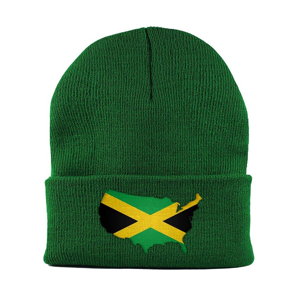 Beanie-Cuffed-Knit-Cap-Mapflag-Jamaica-USA-Kelly-Green
