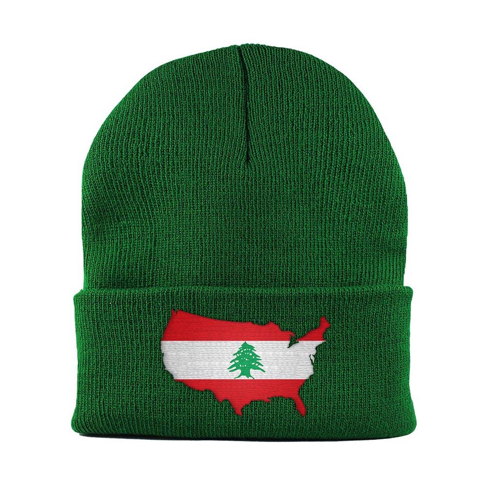 Beanie-Cuffed-Knit-Cap-Mapflag-Lebanon-USA-Kelly-Green