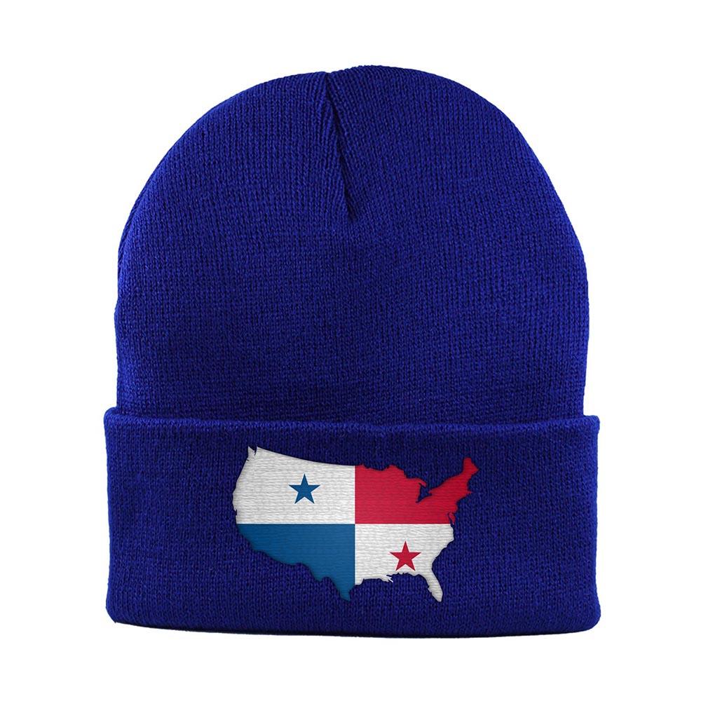 Beanie-Cuffed-Knit-Cap-Mapflag-Panama-USA-Royal-Blue