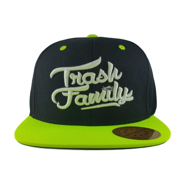 trash-family-custom-snapback-hat-black-neon-green-front