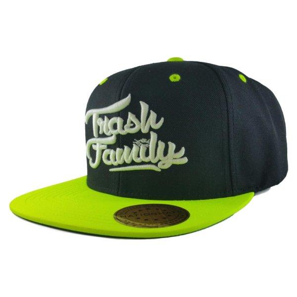 trash-family-custom-snapback-hat-black-neon-green-iso