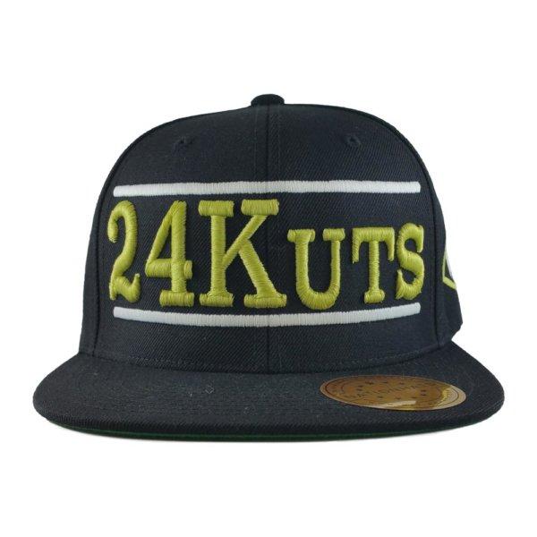 24-kuts-barbershop-custom-snapback-hat-black-front