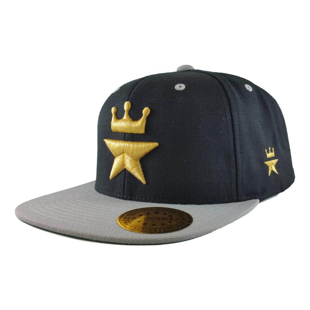 The Gold Royal Star Black & Silver Snapback Cap
