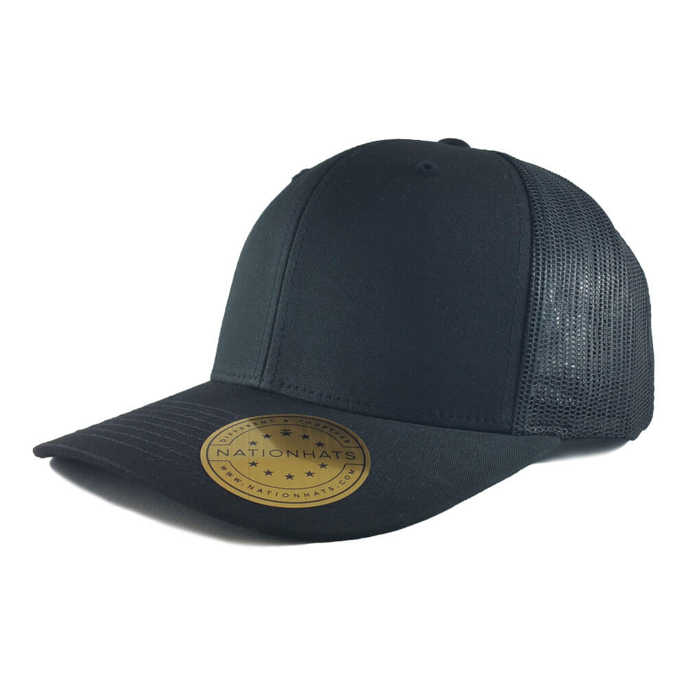Blank-6606-Retro-Trucker-Cap-Black-Iso