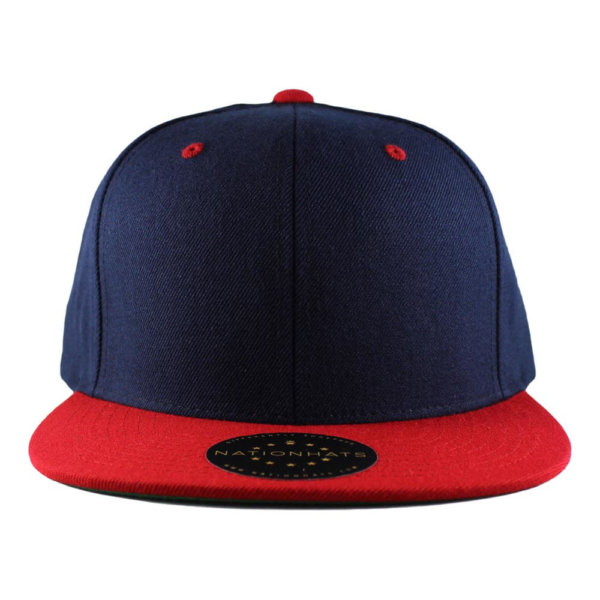 Classic-Snapback-Cap-2-tones-navy-red-Blank