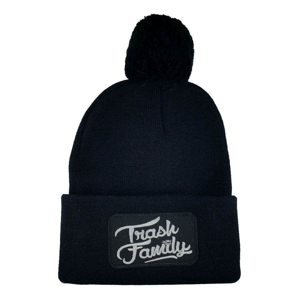 Trash Family's pom pom beanie customized with an embroidered patch