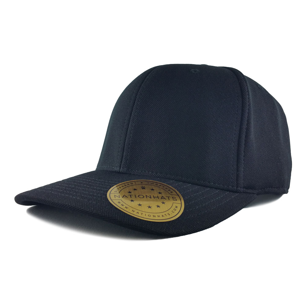 Blank-Flexfit-110P-One-Ten-Cool-Dry-Mini-Pique-Velcro-Cap-Black-Iso