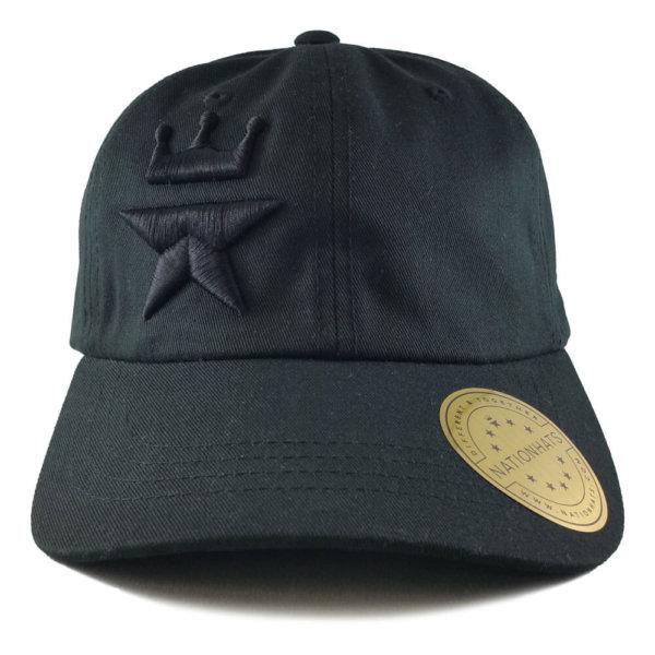Tonal-Royal-Star-Yupoong-6245CM-Strapback-Dad-Hat-Black-Front