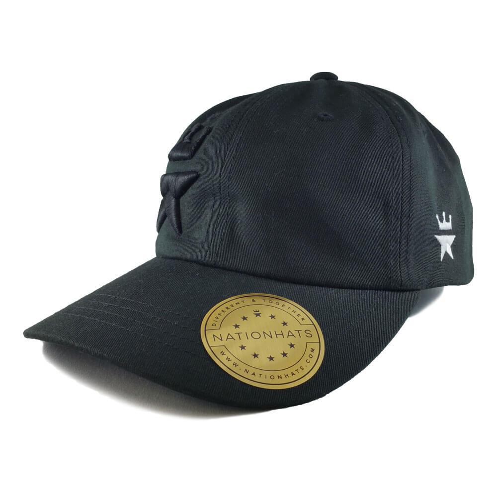 Tonal-Royal-Star-Yupoong-6245CM-Strapback-Dad-Hat-Black-Iso-L
