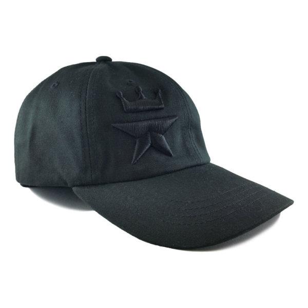 Tonal-Royal-Star-Yupoong-6245CM-Strapback-Dad-Hat-Black-Iso-R
