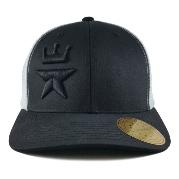 Tonal-Royal-Star-6606-retro-trucker-snapback-cap-black-white-front