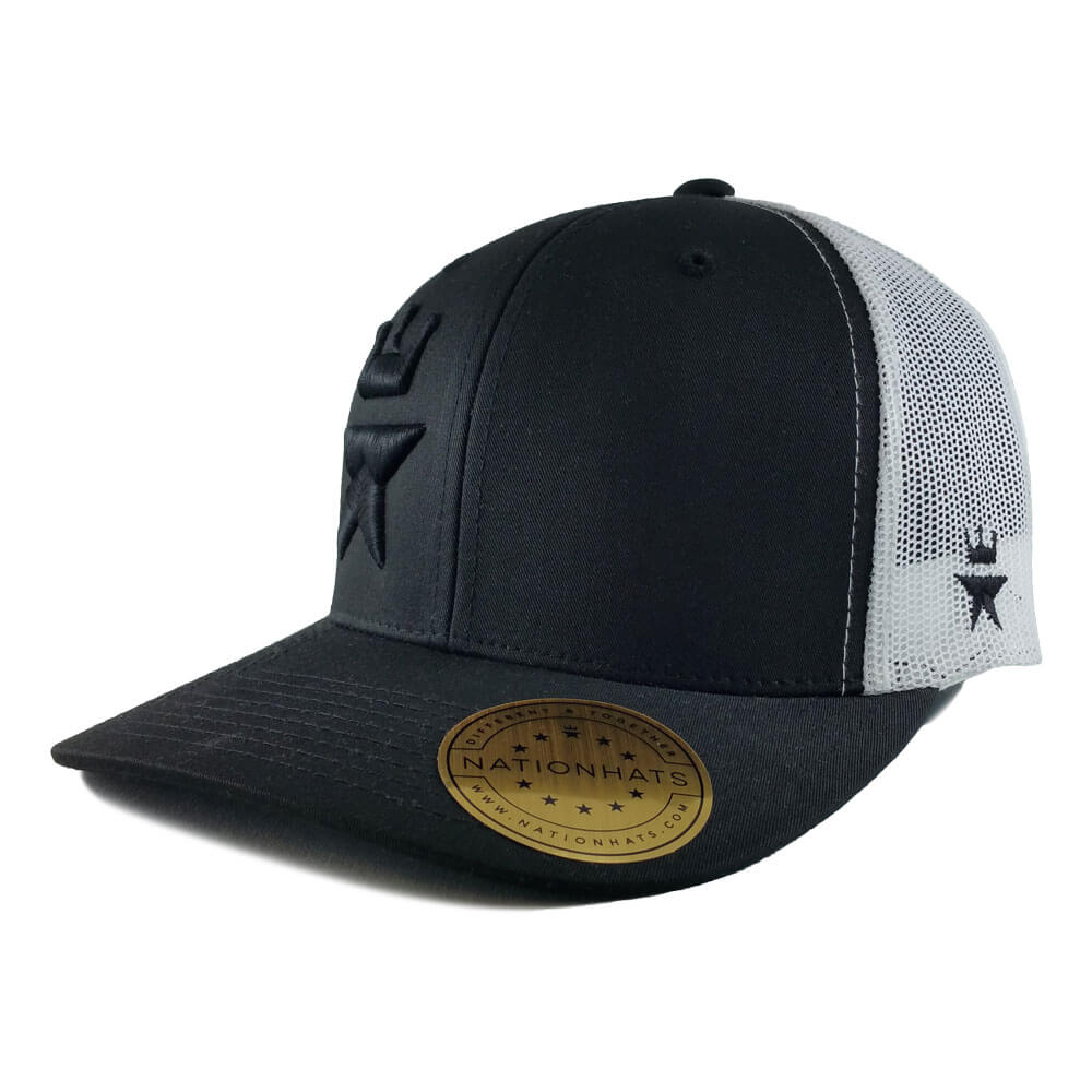 Tonal-Royal-Star-6606-retro-trucker-snapback-cap-black-white-iso