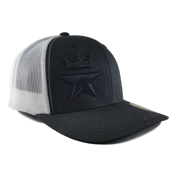 Tonal-Royal-Star-6606-retro-trucker-snapback-cap-black-white-iso-2