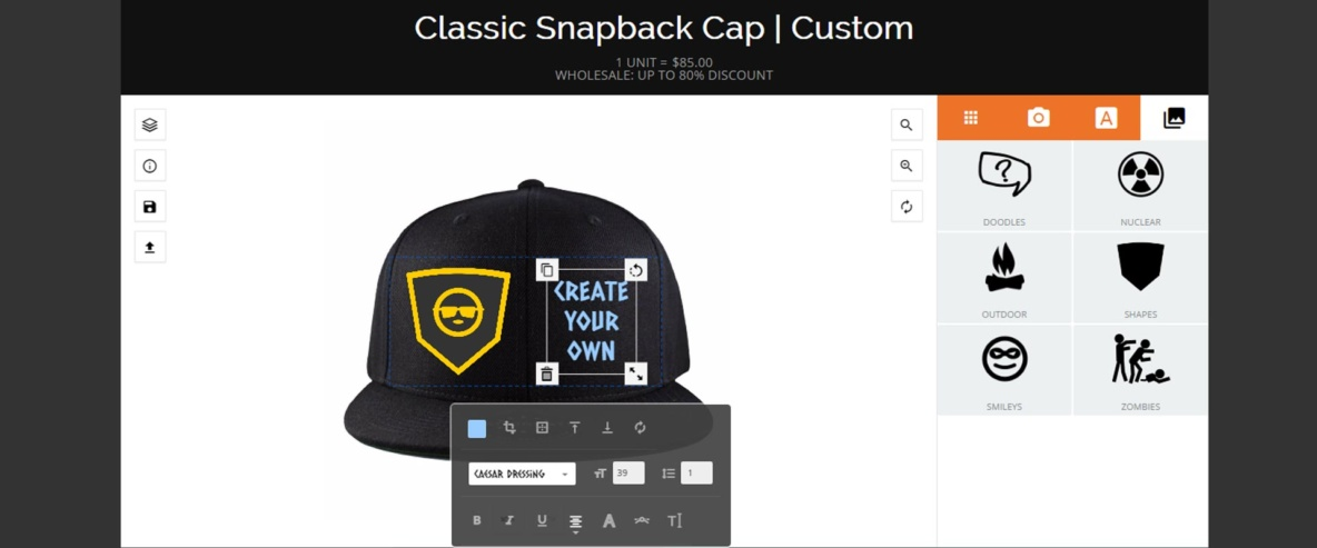 Create your own custom caps and hats on Nationhats.com
