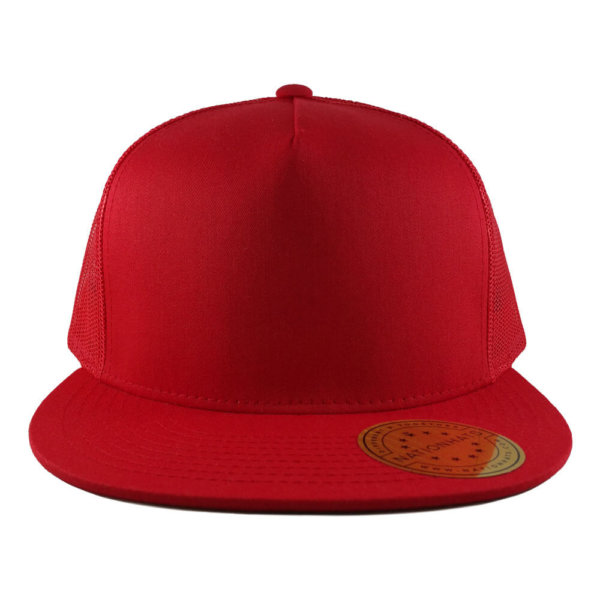 Blank-6006-Classic-Trucker-Cap-Red-Front