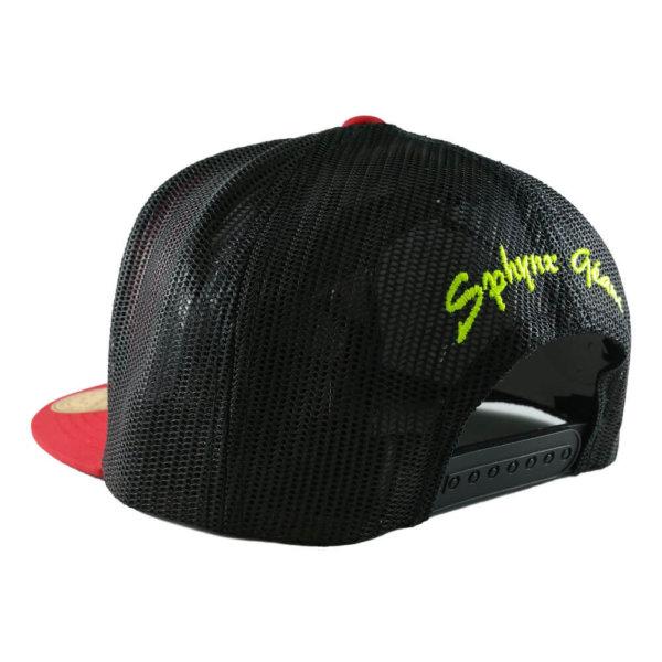 sphynx-geant-6006-classic-trucker-snapback-cap-red-black-back-iso