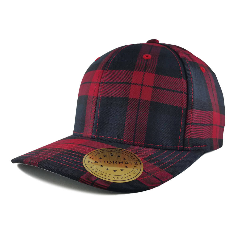 Blank-6197-Flexfit-Tartan-Plaid-Black-Red-Iso